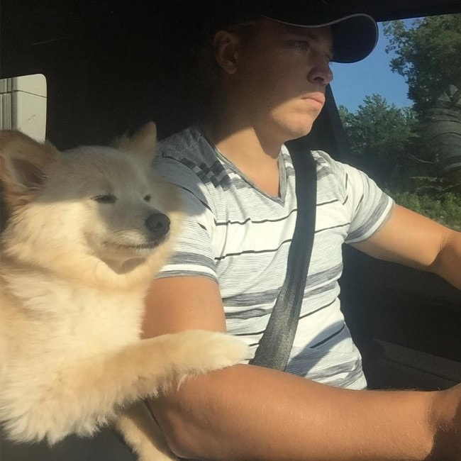 Cam Atkinson with his dog Easton as seen in August 2016