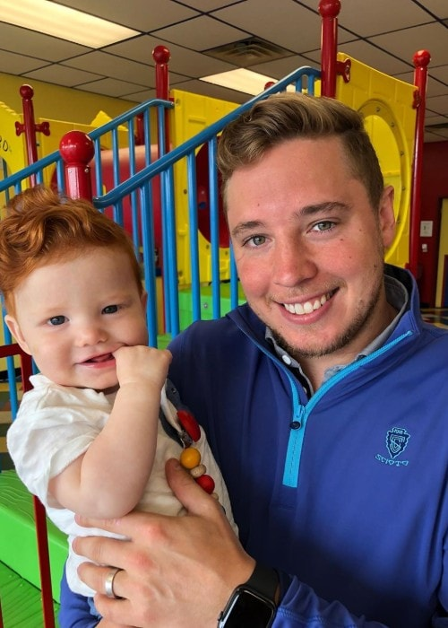 Cam Atkinson with his son Declan as seen in May 2019