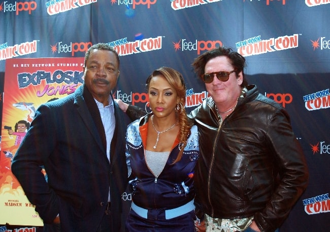 Carl Weathers (Left) as seen while posing for a picture alongside Vivica A. Fox and Michael Madsen promoting their animated TV series, 'Explosion Jones', in October 2017