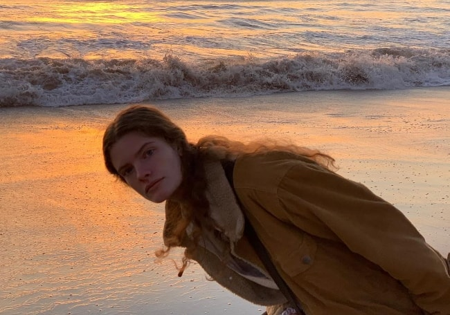 Carolina Burgin as seen while posing for a picture at Santa Monica Beach in Santa Monica, Los Angeles County, California, United States in January 2019