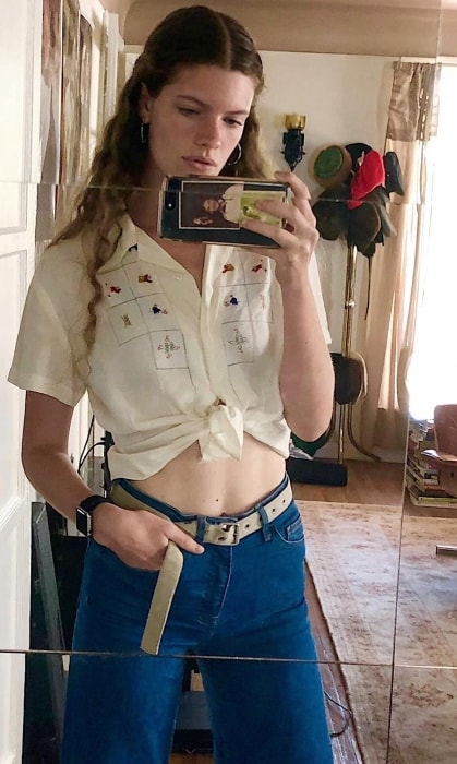 Carolina Burgin as seen while taking a mirror selfie in Los Angeles, California, United States in July 2018