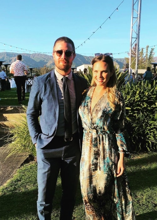 Cassandra Jean as seen while posing for the camera alongside Stephen Amell in Santa Barbara, Santa Barbara County, California, United States in March 2019