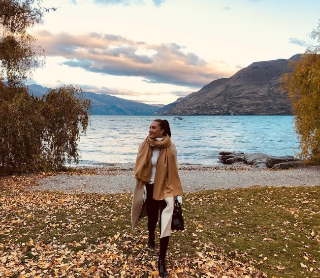 Chanel Stewart as seen while posing for a beautiful picture at Lake Wakatipu in Queenstown-Lakes District, Otago Region, South Island, New Zealand in April 2019