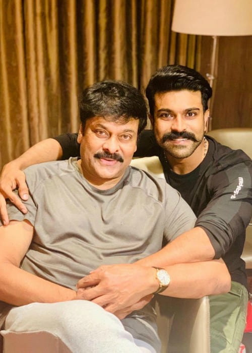 Chiranjeevi (Left) and Ram Charan Teja as seen in August 2019