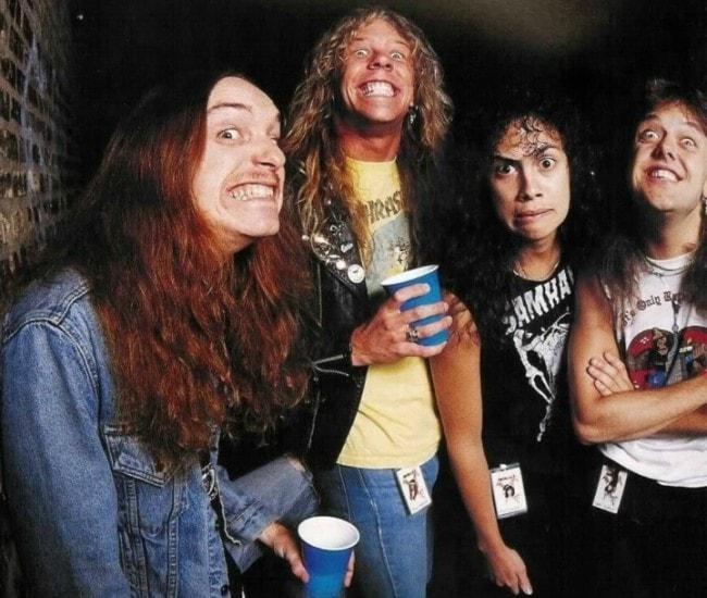Cliff Burton (Left) with his bandmates