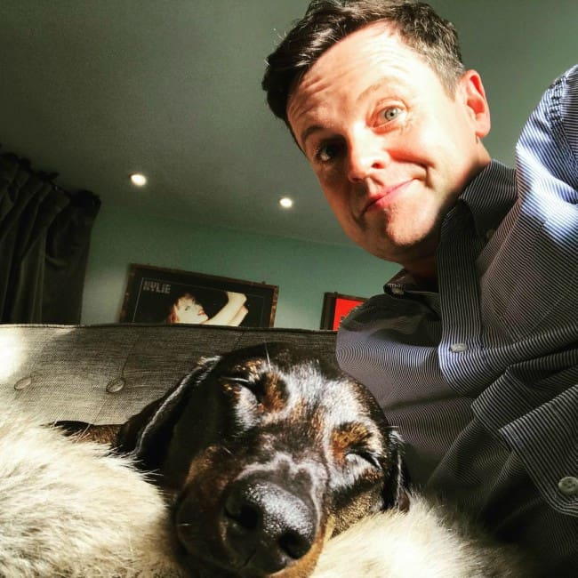 Declan Donnelly in a selfie with his dog as seen in May 2018