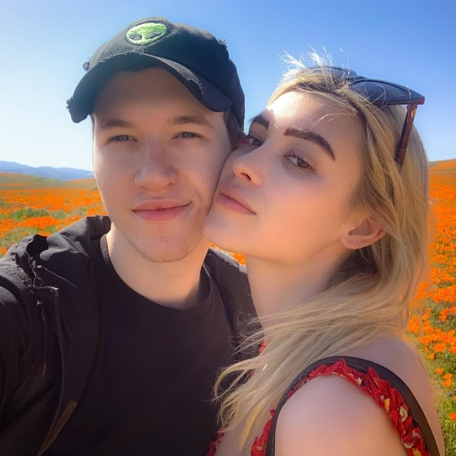 Devin Druid as seen while taking a selfie along with Annie Marie at Antelope Valley California Poppy Reserve located in ‎Los Angeles County, California‎, United States in March 2019