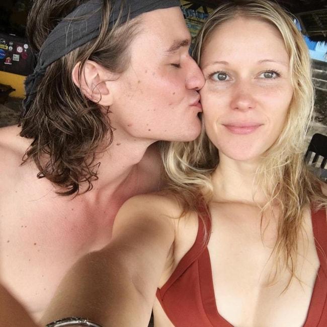 Dylan Playfair as seen while kissing Jen Araki in a selfie in Bali, Indonesia in January 2019