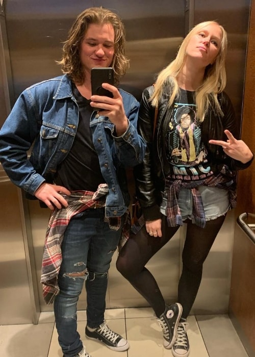 Dylan Playfair as seen while taking a mirror selfie along with Jen Araki in Coachella, California, United States in April 2019