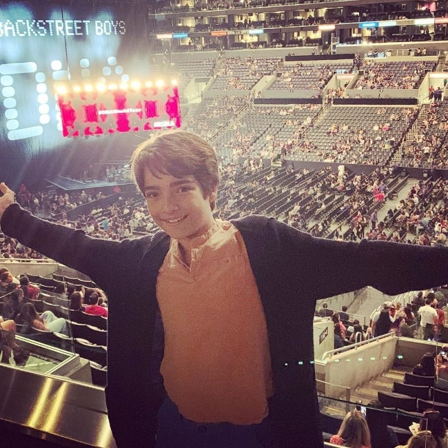 Elias Harger posing for a picture while attending the first live-concert of his life by 'Backstreet Boys' at Staples Center in Downtown Los Angeles, Los Angeles, California, United States in August 2019