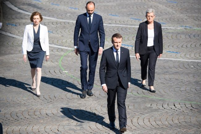 Emmanuel Macron arriving at the Bastille Day military parade celebration in Paris on July 14, 2017