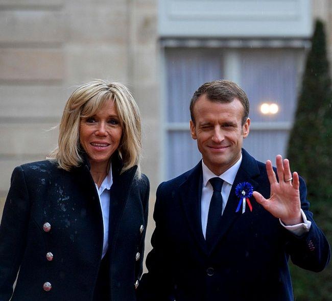 Emmanuel Macron with his wife Brigitte Macron as seen in November 2018