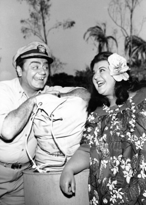 Ernest Borgnine as seen alongside Peggy Mondo from the television program 'McHale's Navy'