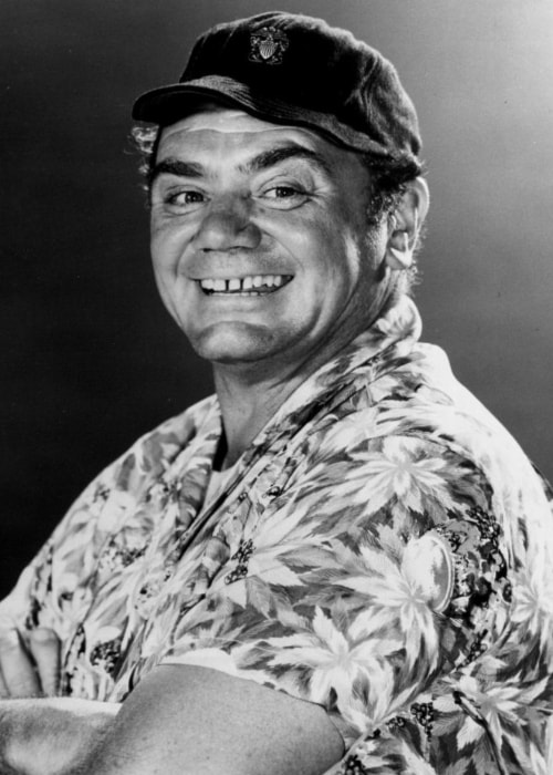 Ernest Borgnine as seen while smiling for the camera as Commander McHale from the television program 'McHale's Navy' in November 1962
