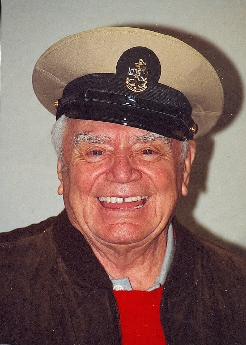Ernest Borgnine as seen while smiling in a picture