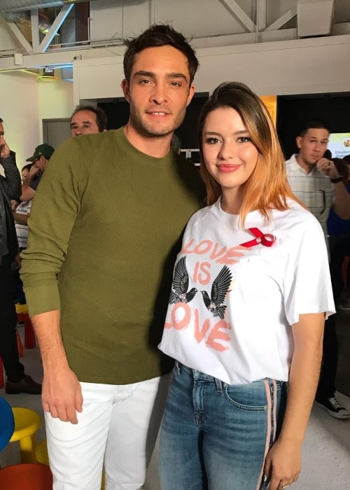 Fátima Ptacek as seen in a picture taken with actor Ed Westwick in February 2019
