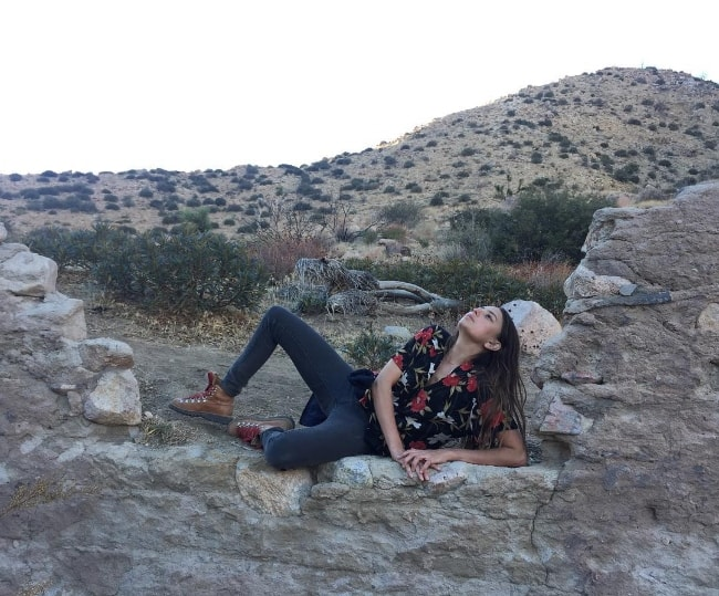 Fabianne Therese as seen while posing for a picture at Pioneertown Mountains Preserve located in Pioneertown, California, United States in December 2017