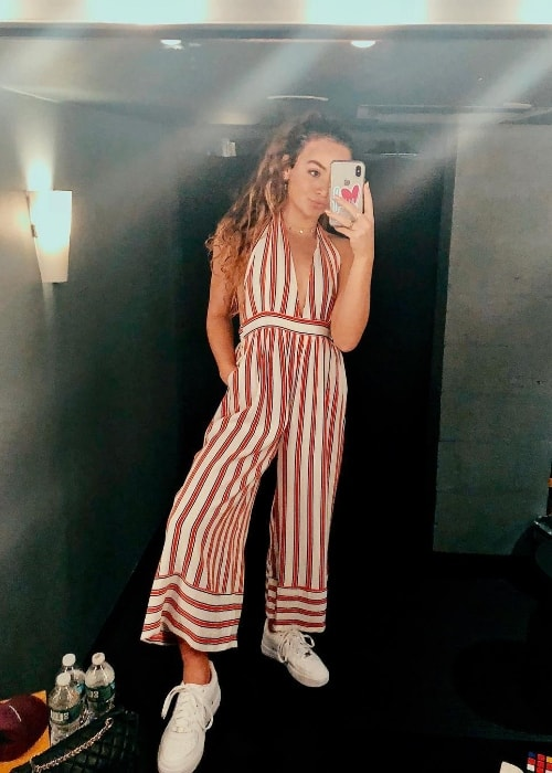 Gabriela Gonzalez as seen while taking a mirror selfie at Times Square in New York City, New York, United States in April 2018