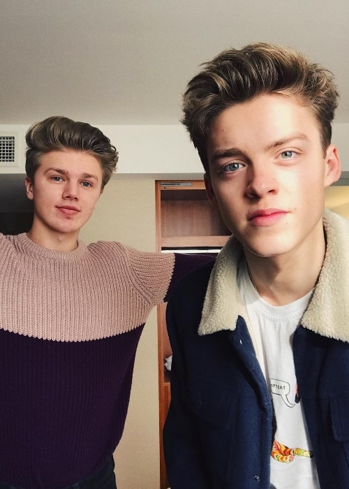 George Smith (Left) as seen while posing for a selfie along with his 'New Hope Club' bandmate, Reece Bibby, in London, England, United Kingdom in February 2018
