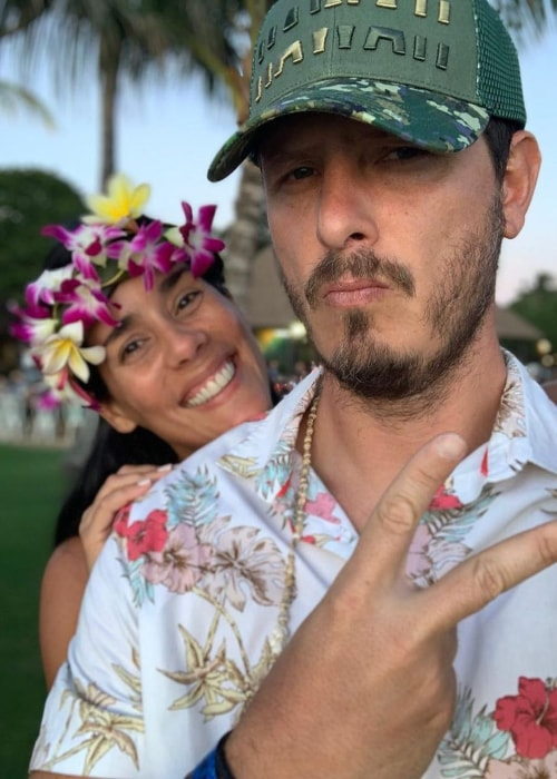 Gianella Neyra as seen in a selfie with her beau Cristian Rivero in Hawai in July 2019