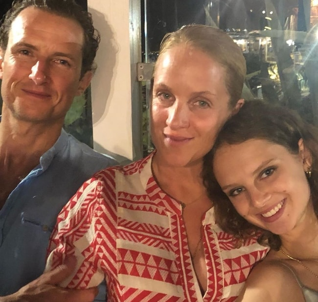 Giselle Norman as seen while taking a selfie along with her parents in Vale Do Lobo, Portugal in August 2019