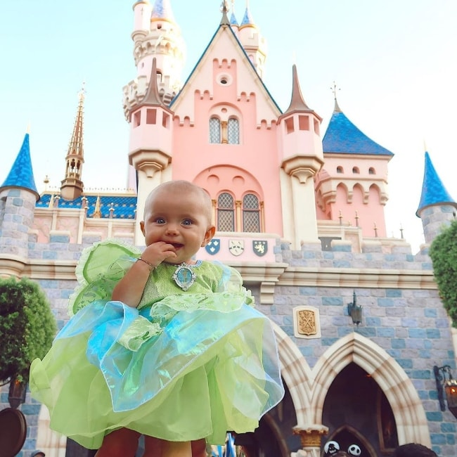 Halston Blake Fisher as seen in a picture while dressed as Tinkerbell at Disneyland Park in Anaheim, Orange County, California, United States in September 2019