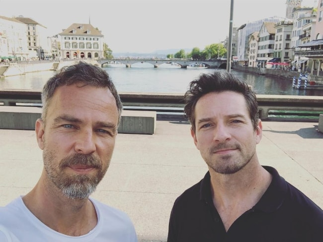 JR Bourne (Left) as seen while taking a selfie along with his friend, Ian Bohen, in Zürich, Switzerland in June 2018