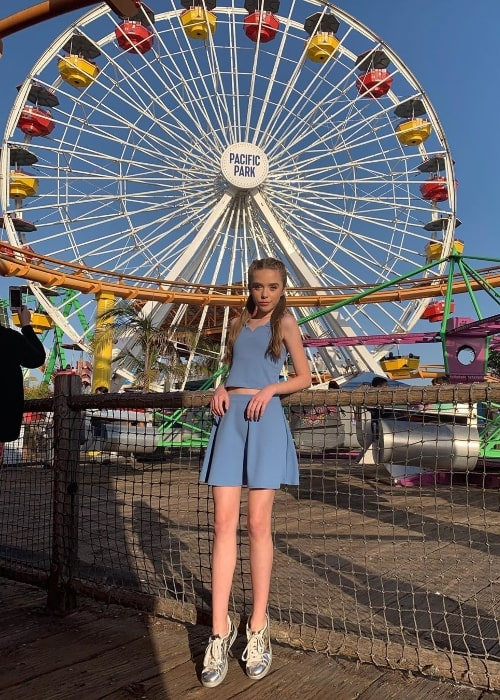 Jenna Davis as seen while posing for the camera at Santa Monica Pier located in Santa Monica, Los Angeles County, California, United States in June 2019