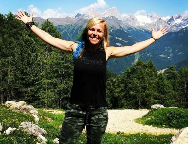 Jessi Combs at Selva di Val Gardena in June 2019