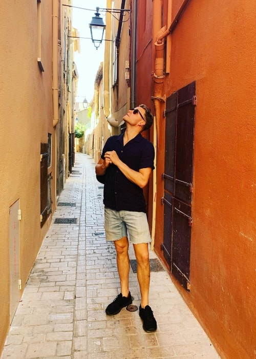 Josh Dylan as seen while posing for the camera in June 2019 in Saint-Tropez, a town on the French Riviera, located in Provence-Alpes-Côte d'Azur region of Occitania, Southern France