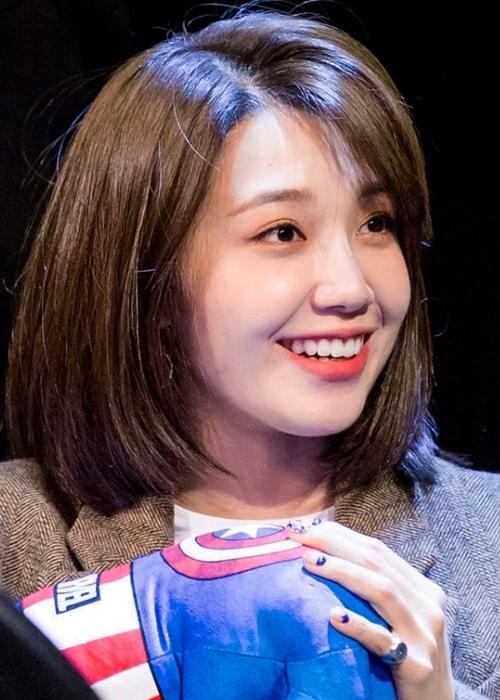 Jung Eun-ji as seen in a picture taken at an 'Apink' fan meeting in Sangam, Seoul, South Korea in January 2019