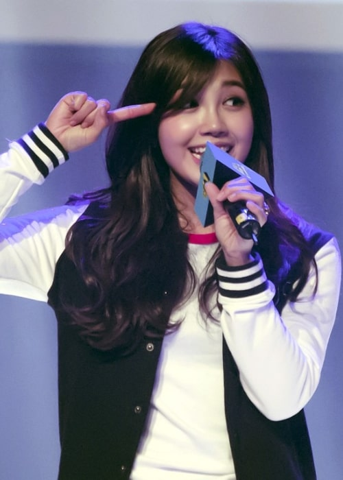 Jung Eun-ji as seen in a picture taken during the Go Ham! Talk Concert in February 2014