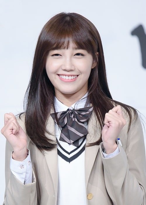 Jung Eun-ji as seen while posing for a picture at 'Sassy Go Go' press conference in October 2015