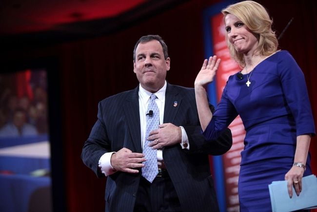 Laura Ingraham seen with the Governor of New Jersey Chris Christie at the 2015 CPAC in Maryland