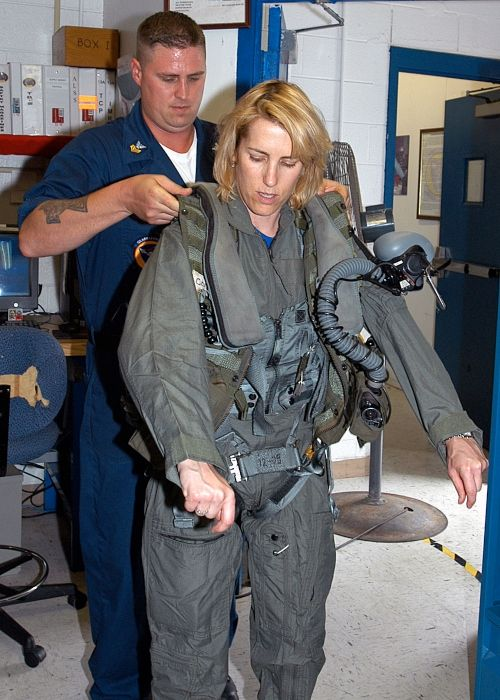 Laura gets fitted for flight gear at the US Navy base in 2007