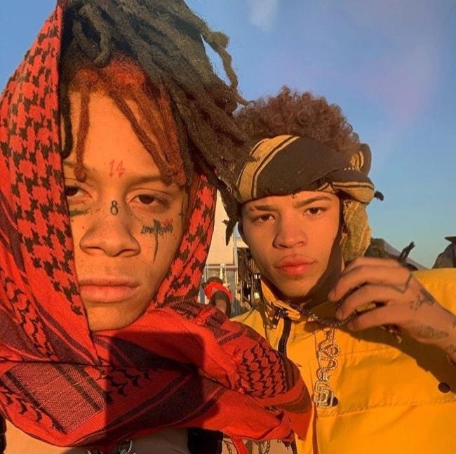 Lil Mosey (Right) as seen while posing in a selfie alongside rapper Trippie Redd in September 2019