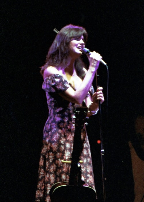Linda Ronstadt as seen while performing at a concert in UT Arlington (also known as the University of Texas at Arlington) in August 1977