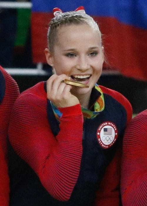 Madison Kocian as seen in a picture taken after receiving a gold medal at the 2016 Rio De Janeiro Olympics