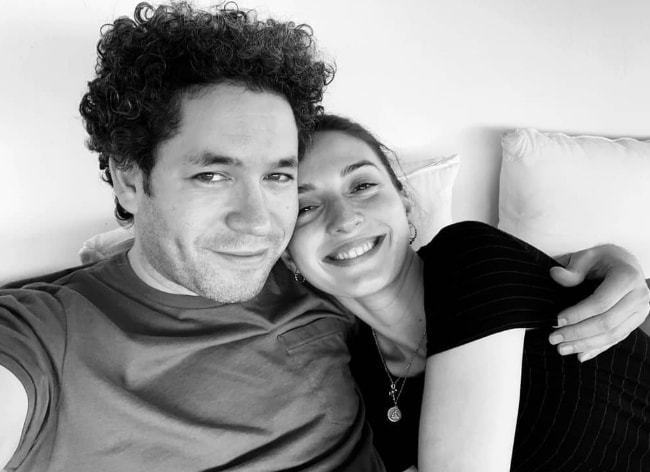 María Valverde as seen in a loved-up black-and-white selfie along with Gustavo Dudamel in June 2019