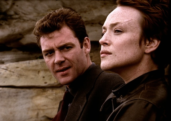 Marton Csokas and Susie Porter as seen in a production still from the movie titled 'The Monkey's Mask'