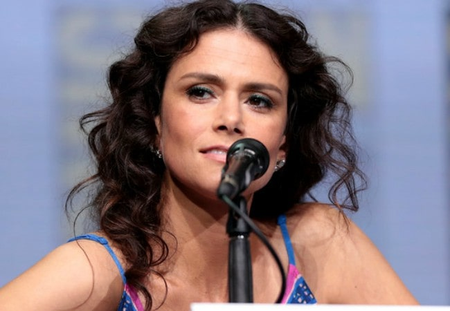 Melissa Ponzio speaking at the 2017 San Diego Comic Con International