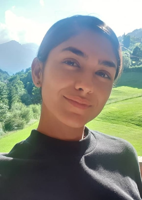 Mrunal Thakur as seen in a selfie taken in Switzerland in September 2019
