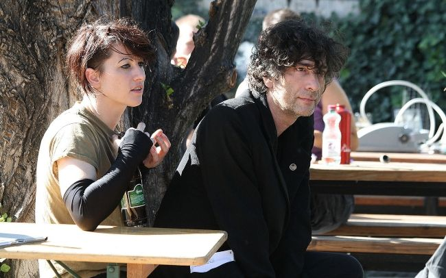 Neil seen with his wife Amanda Palmer during an interview for ORF Radio in Vienna, Austria in 2011