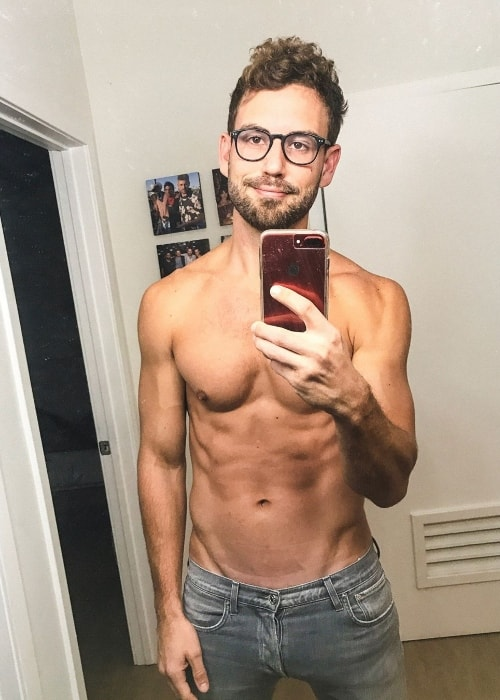 Nick Viall as seen while taking a shirtless mirror selfie in March 2019