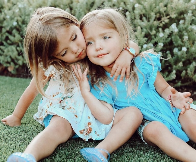 Oakley Fisher and Taytum Fisher as seen while posing for an adorable picture in Los Angeles, California, United States in July 2019