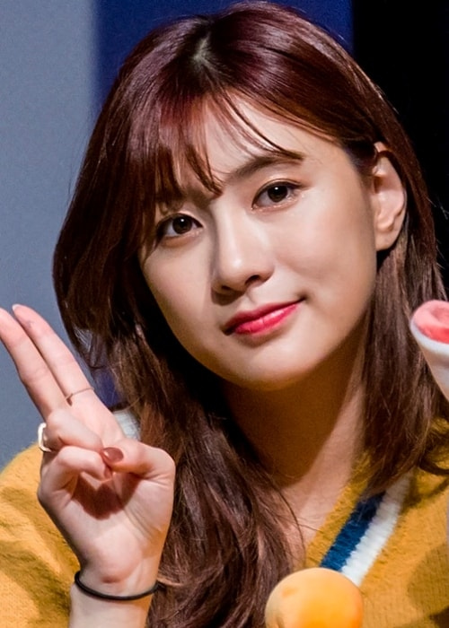 Oh Ha-young as seen while posing for the camera at an 'Apink' fan meeting in Sinchon, Seoul, South Korea in January 2019