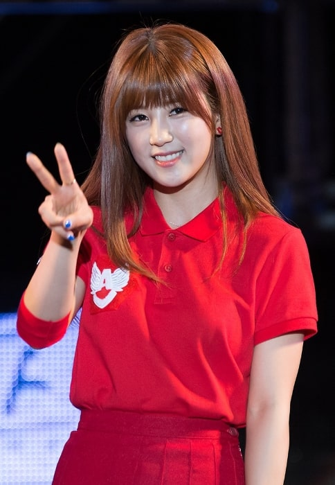 Park Cho-rong as seen while posing for the camera at Korea University Ipselenti (cheering festival) in 2014