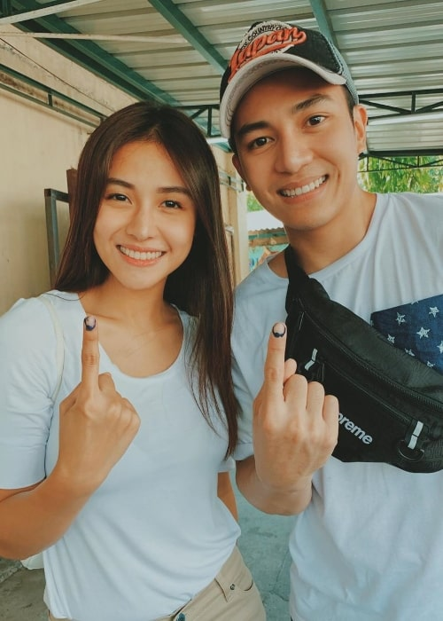Sanya Lopez as seen while posing for a picture alongside her brother, Jak Roberto, showing their inked fingers after voting in May 2019