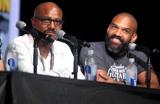 Seth Gilliam (Left) alongside Khary Payton while speaking at the 2017 San Diego Comic-Con International, for 'The Walking Dead', at the San Diego Convention Center in San Diego, California, United States