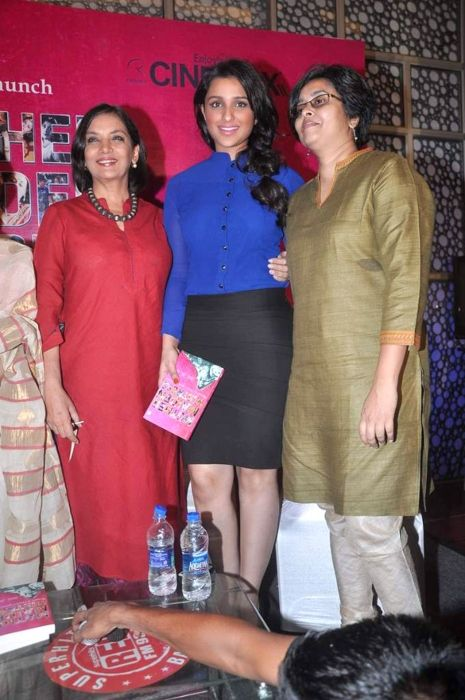 Shabana Azmi posing with actress Parineeti Chopra at the Mother Maiden Mistress book launch